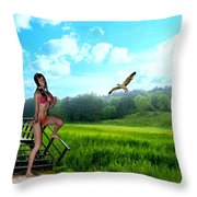 Alone In The Field Throw Pillow