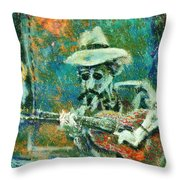 Alone With The Blues Throw Pillow