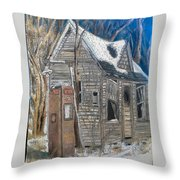 Along A Cold Country Road Throw Pillow