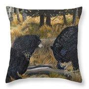 Along An Autumn Path - Black Bear With Cubs Throw Pillow
