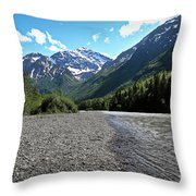 Along Eagle River- Eagle River, Alaska Throw Pillow