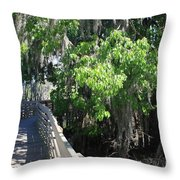 Along Florida Boardwalk Throw Pillow