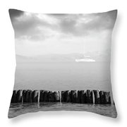 Along The Breakwater Throw Pillow