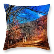 Along The Country Lane Throw Pillow