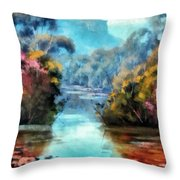 Along The Creek Throw Pillow
