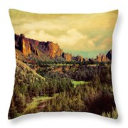 Along The Crooked River Throw Pillow