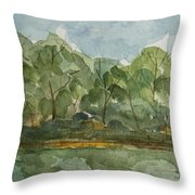 Floating Along The Etowah River Throw Pillow