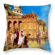 Along The Ghats, Mathura After Edwin Lord Weeks Throw Pillow