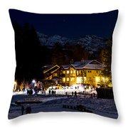 Along The Lake Night Throw Pillow