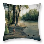 Along The Mississinewa River Throw Pillow