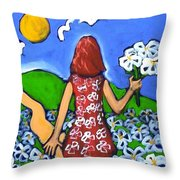 Along The New Path Throw Pillow
