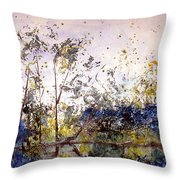Along The River Bank Throw Pillow
