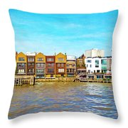 Along The River Thames Throw Pillow