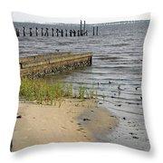 Along The Shore Of Biloxi Bay Throw Pillow