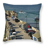 Along The South Pier - Newquay Harbour Throw Pillow