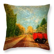 Along The Tracks Throw Pillow