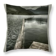 Along The Washington Coast - Dock, Breakwater, And Mountains Throw Pillow