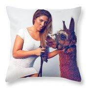 Alpaca Mr. Tex And Breanna Throw Pillow