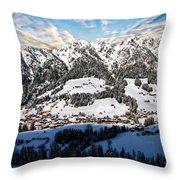 Alpbach Winter Landscape Throw Pillow