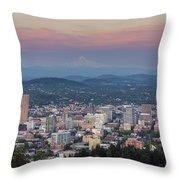 Alpenglow Over Portland Oregon Cityscape Throw Pillow