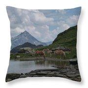 Alps' Horses Throw Pillow