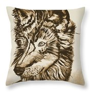 Alpha Male - The Wolf - Antiqued Throw Pillow