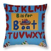 Alphabet Boat Throw Pillow