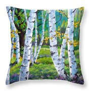Alpine Flowers And Birches  Throw Pillow