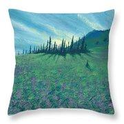 Alpine Hillside Throw Pillow