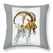 Alpine Ibex Throw Pillow