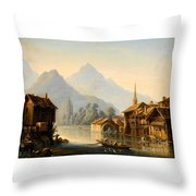 Alpine Lake Scenery With City View Throw Pillow