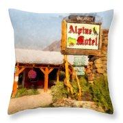 Alpine Motel Vintage Roadside Oasis Yellowstone Throw Pillow
