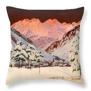 Alpine Mountain Scene Throw Pillow