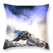Alpine Mountains And Clouds Watercolour Throw Pillow