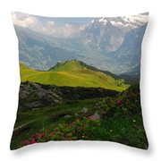 Alpine Roses In Foreground Throw Pillow
