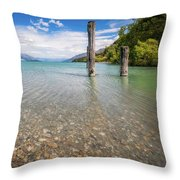 Alpine Scenery From Dart River Bed In Kinloch, New Zealand Throw Pillow