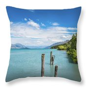 Alpine Scenery Panorama At Kinloch, New Zealand Throw Pillow