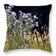 Alpine Thistles And Grasses Throw Pillow