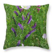 Alpine Vetch And Primroses Throw Pillow