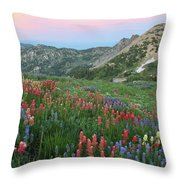 Alpine Wildflowers And View At Sunset Throw Pillow