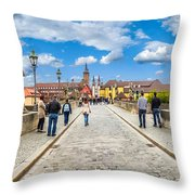 Alte Mainbrucke In The Historic City Of Wurzburg Throw Pillow