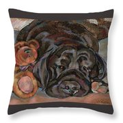 Althea With Teddy Bear Throw Pillow