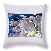 Aluminum Print, Koi Fish Print On Metal. Fish Art - Yellow - Blue - Green 3d Painting Of Koi Fish, A Throw Pillow