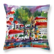 Amalfi Coast Italy Expressive Watercolor Throw Pillow by Ginette Callaway