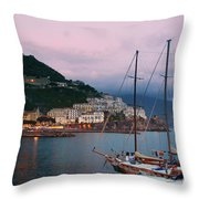 Amalfi Harbor Sunset Throw Pillow