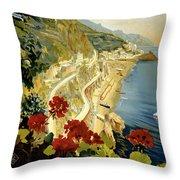 Amalfi Italy Italia Vintage Poster Restored Throw Pillow