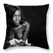 Amani African American Nude Sensual Sexy Fine Art Print In Sepia 4935.01 Throw Pillow