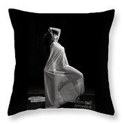 Amani African American Nude Sensual Sexy Fine Art Print In Sepia 4975.01 Throw Pillow