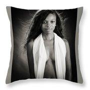 Amani African American Nude Sensual Sexy Fine Art Print In Sepia 4980.01 Throw Pillow