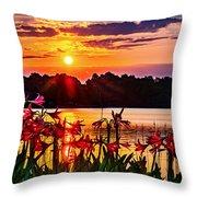 Amaryllis At Sunrise Over Lake Throw Pillow